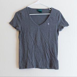 Grey Ralph Lauren T Shirt Women's V Neck XS